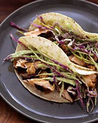 My go-to recipe for dinner parties: dry-rubbed salmon tacos with tomatillo-avocado slaw