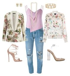 """""""Loving My Pearls & Floral!!!"""" by la-harrell-styling-co on Polyvore featuring Levi's, VILA, New Look, YEEZY Season 2, Dsquared2, Lele Sadoughi, Mawi and Kenneth Jay Lane"""