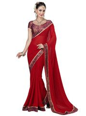 Red Color Georgette Casual Function Sarees : Chavi Collection YF-27669