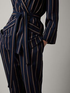 Women´s Coats & Jackets at Massimo Dutti online. Enter now and view our Spring Summer 2019 Coats & Jackets collection. Blazers For Women, Suits For Women, Women Wear, Elegant Outfit, Blue Stripes, Active Wear, Wrap Dress, Spring Summer, Slim