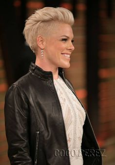 Pink's hair.... side