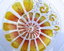 small ammonite fossil design fused glass dish, seconds