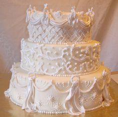 starburst drapes and pearl 3 tier wedding cake 009 by arteatsbakery, via Flickr