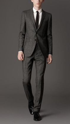 Slim Fit Virgin Wool Herringbone Suit | Burberry