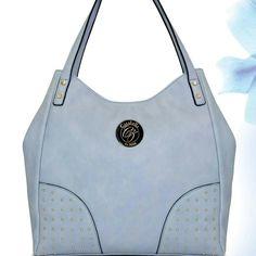 Ash blue hobo bag with gold studs H135-00 @ R595    #handbag #fashion #blue #trendy #accessories #cazabella #baggram #fashionhandbag #instabag ronel.cazabella@yahoo.com Trendy Accessories, Gold Studs, Hobo Bag, Fashion Handbags, Hermes, Blue