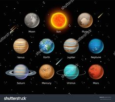 Planets Colorful Vector Set On Dark Background, Planet Vector Set. Planet Icons…