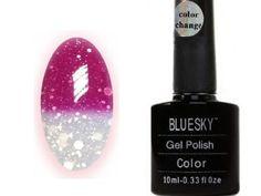 Bluesky Gel Polish Colour Changing Chameleon UV Gel - Hot Pink to Glitter White Bluesky Shellac, Bluesky Gel Polish, Gel Polish Colors, Gel Nail Polish, Wow Nails, Soak Off Gel Nails, Thing 1, Fabulous Nails, Uv Gel