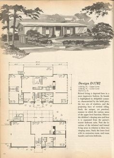 Vintage House Plans, Mid Century Homes, 1960s  Design 1782