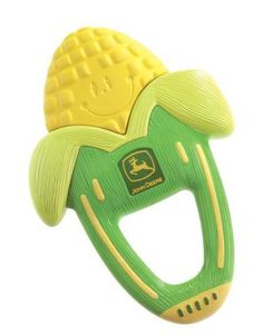 The First Years John Deere Massaging Corn Teether: http://www.amazon.com/The-First-Years-Massaging-Teether/dp/B0013FCBJO/?tag=headisstrandh-20