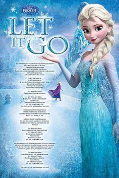 Póster Elsa, Let is Go. Frozen: El Reino del Hielo Póster con la imagen de Elsa protagonista de la película de animación Frozen, y la letra de la famosa canción Let is Go.