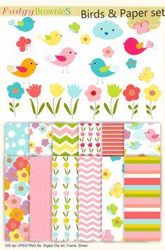 Digital Papers, clip art paper set, Birds clip art, Birds papers MS 03,invites,cards,scrapbooking,chevron, polka dots,INSTANT DOWNLOAD
