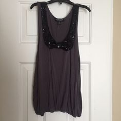 Sequence bow top Black and gray sequence bow top. Worn twice. Size medium. About a girl Tops Tank Tops