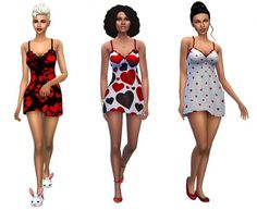 Dreaming 4 Sims: Be My Valentine short gown • Sims 4 Downloads
