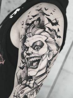 """Jakub Kowalski > Joker x Harley Quinn Nature Tattoo Sleeve, Nature Tattoos, Sleeve Tattoos, Batman Tattoo Sleeve, Batman Joker Tattoo, Black Ink Tattoos, Body Art Tattoos, Small Tattoos, Tattoo Ink"