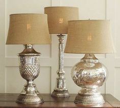 DIY: Antique Glass Objects - Krylon's Looking Glass Spray turns any ordinary glass object into beautiful mercury glass with a distressed, silvery patina, antiqued look. - * Use on crystal wedding gift lamp? Mercury Glass Lamp, Glass Lamp Base, Glass Lamps, Do It Yourself Furniture, Do It Yourself Home, Krylon Looking Glass, Decor Inspiration, Lamp Makeover, Antique Glass