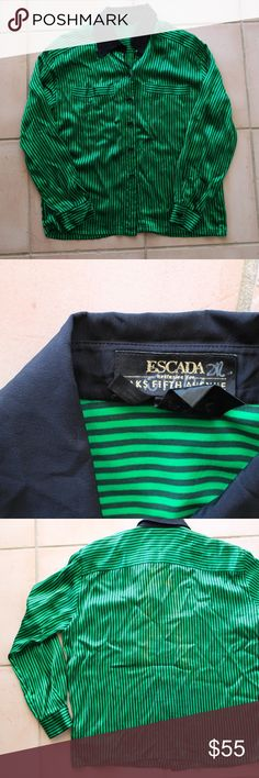 Vintage Escada Button Up Emerald Green and black striped button-up by Escada. 100% silk and also 100% amazing and unique!! Tagged women's large. Some discoloration on the back, but it's hard to notice (couldn't even get a good picture of it) Escada Tops Button Down Shirts