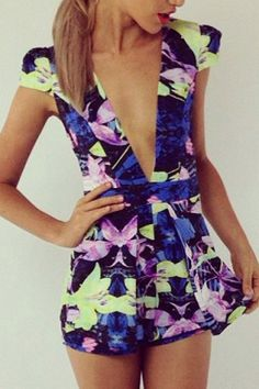 Sexy Plunging Neck Short Sleeve Printed Women's Mini Dress