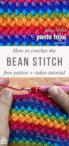 Bean Crochet Stitch Free Pattern Video Tutorial The post Learn Making Bean Stit. Bean Crochet Stitch Free Pattern Video Tutorial The post Learn Making Bean Stitch Crochet Easily a Beau Crochet, Crochet Diy, Learn To Crochet, Crochet Crafts, Tutorial Crochet, Crochet Ideas, Crochet Tutorials, Diy Crochet Projects, Sewing Tutorials