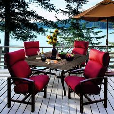 Lakeside deep, generously proportioned cushioned outdoor patio dining chairs truly bring the elegance and comfort of the indoors out, allowing yards or patios to become an elegant outdoor room. Patio Furniture Cushions, Outdoor Furniture Sets, Wicker Furniture, Garden Furniture, Furniture Ideas, Outdoor Cushions, Furniture Layout, Vintage Furniture, Modern Furniture