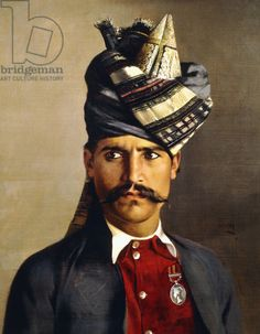 Portrait of a Khattack in Military Head-Dress, 1898 by Hubert Vos (Dutch, 1855-1935)