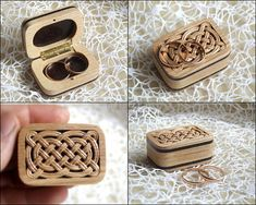 Celtic Ring Box .Hand Crafted Wooden Double Ring Box Wedding. Hand Carved.
