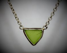 Beach Sea Glass Green Necklace Maine Stone Sterling Silver Chain by lisajdesigns on Etsy