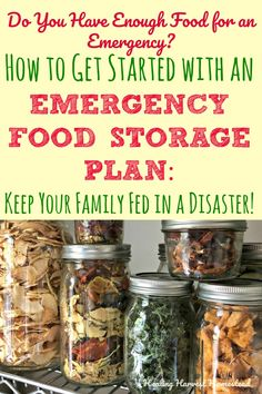 Is your food storage ready for an emergency or disaster situation? Here's how (and why) you need to get your food storage plan going NOW! Find out the 20 items you should have stored in bulk PLUS cons Emergency Food Storage, Emergency Food Supply, Canned Food Storage, Emergency Preparation, Emergency Supplies, Survival Prepping, Survival Gear, Survival Skills, Food Storage Recipes