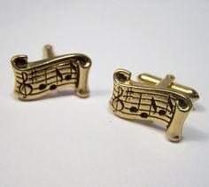 Vintage Swank Men's Cufflinks Music Notation by GretelsTreasures