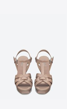 507f85c48983a2 Tribute Poudre Rose, Cuir Verni, Beige, Sandales, Ysl, Chaussures, Mode