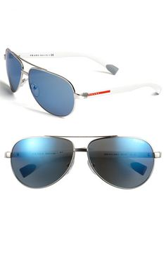 what guy doesn't look great in some prada aviator sunglasses?! i like the edge these white ones have. very sexy.