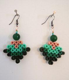 Earrings ethnic style green hama perler by Cestlafannette