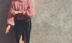 PINK KNIT & BLACK LEATHER | Hanna Wessman