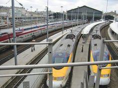 Eurostar trains thru the Chunnel London to Paris and return.