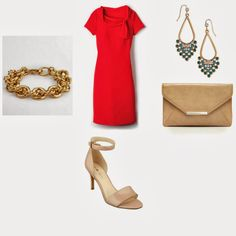 what to wear with a red dress, Green chandelier earrings, J crew bracelet, Nude Sandals