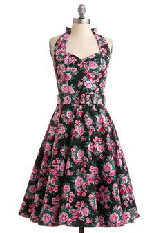 Enchanted Afternoon Dress in Mums - Green, Floral, A-line, Halter, 50s, Spring, Summer, Multi, Pink, Black, White, Show On Featured Sale, Ro...