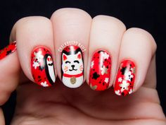 The Lacquer Legion Lucky: Maneki-Neko (Lucky Cat) Nail Art | Chalkboard Nails | Nail Art Blog