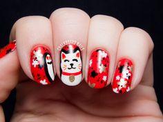 The Lacquer Legion Lucky: Maneki-Neko (Lucky Cat) Nail Art   Chalkboard Nails   Nail Art Blog