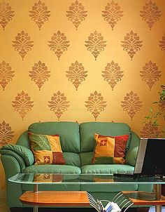 Tali's Brocade Damask stencils for walls, easy wall decor with stencils, wall stencils for less!