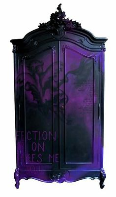 A gothic bedroom can be very charming and very relaxing if you know . colors such as deep red or purple are very popular in Gothic interiors. Purple Furniture, Gothic Furniture, Funky Furniture, Painted Furniture, Urban Furniture, Furniture Storage, Painted Armoire, Smart Furniture, Deco Furniture