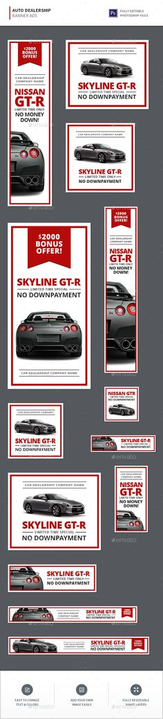Auto Dealership Banners Template PSD #design #ad