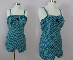 1950s Pin Up Romper / 50s Plus Size Bathing by livinvintageshop