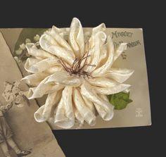 Vintage Style Dahlia Ribbon Flower Pin Brooch with by WaywardWomen,