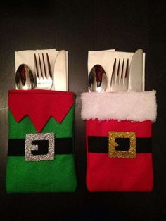 Christmas cutlery holder - Santa and elf Christmas Sewing, Felt Christmas, Christmas Holidays, Christmas Stockings, Christmas Quilting, Nordic Christmas, Modern Christmas, Christmas Table Settings, Christmas Table Decorations