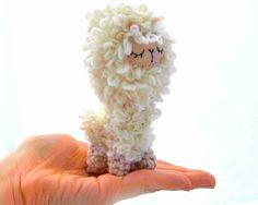 llama lama plush amigurumi felt doll stuffed animal sleepy sleeping cream beige crochet kawaii ready to ship. $20.99, via Etsy.