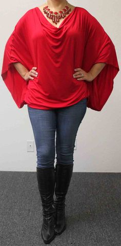 Free Shipping Adorable Soft & Comfortable Magic Plus size Top/Tunic OSFA in Red, will fit upto 3XL