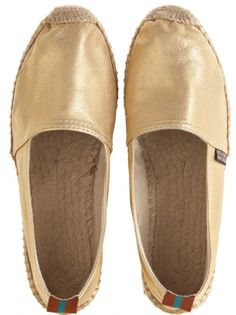 #Metallic #leather Espadrille