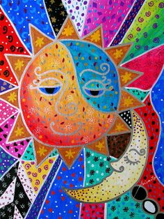 Abstract Sun And Moon Print by Pristine Cartera Turkus