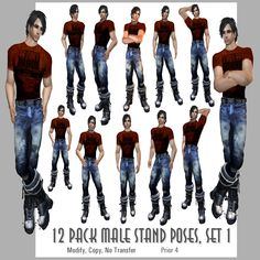 Different Poses For Models | Male Poses – stands set 1 | AMACCI
