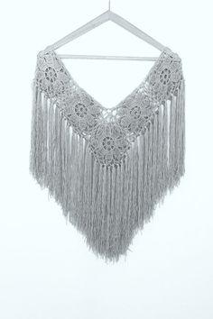 Gray Cape Bridal Shawl Crocheted Shawl Wedding Wrap Bridal
