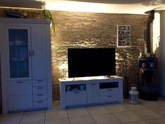Wohnzimmer Wand Stein Mit Beleuchtung
